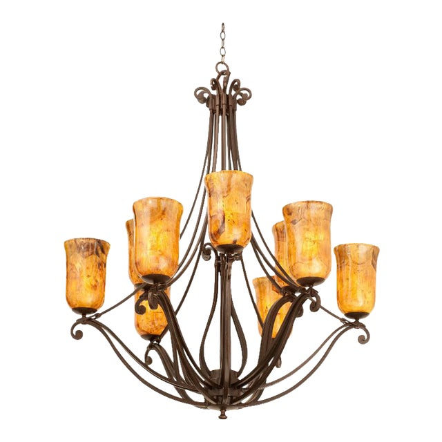 Monumental Kalco Chandelier With Murano Glass Style Torchiere Light Shades For Sale