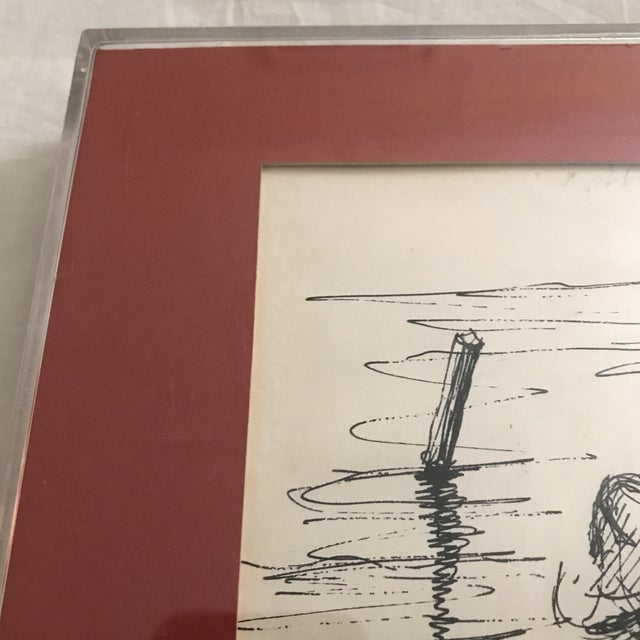 "Framed ""Fishermans Repose"" Original Ink Drawing - Image 3 of 6"