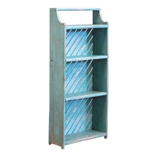 Vintage Rustic Southwest Style Blue Bookcase/Wall Shelf Cupboard For Sale