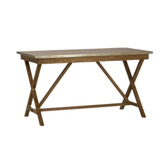 Contemporary Zinc Top Oak Desk