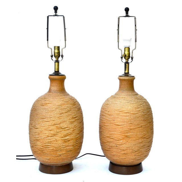 Bob Kinzie Ceramic Large Table Lamp Pair For Sale In Los Angeles - Image 6 of 6