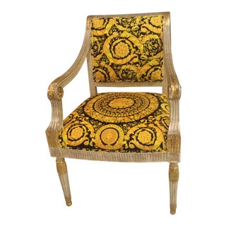 Louis XVI Style Custom Made Gianni Versace Pair of Chairs in Barrocco Gold-Black Velvet One of Kind For Sale