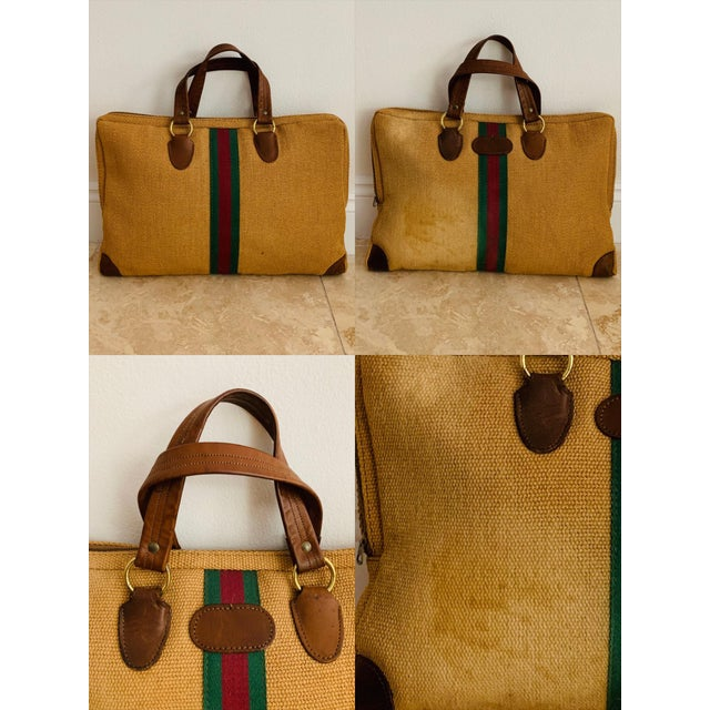 Vintage Italian Style Travel Set of 3 Luggage Jute and Leather, the 3 Pieces For Sale - Image 11 of 13