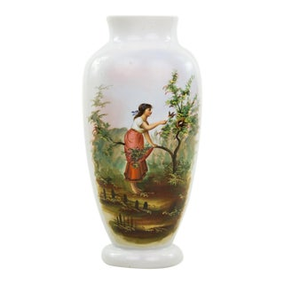 19th C. Victorian Hand Painted Bristol Vase For Sale