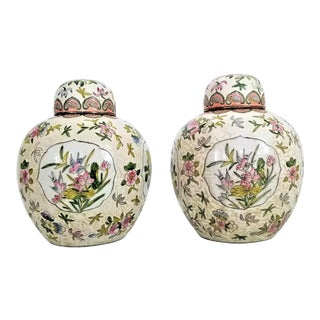 Pair Chinese Ginger Jars With Flowers and Birds - Extra-Large Size- Signed in Chinese and Labeled Macau For Sale