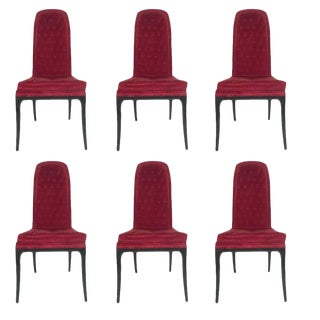 1960s Vintage Original High Back Tufted Erwin-Lambeth for Tomlinson Armchairs- Set of 6 For Sale