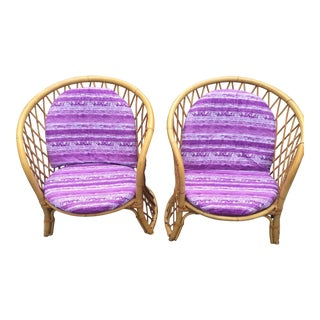 Vintage Rattan Chairs - A Pair For Sale