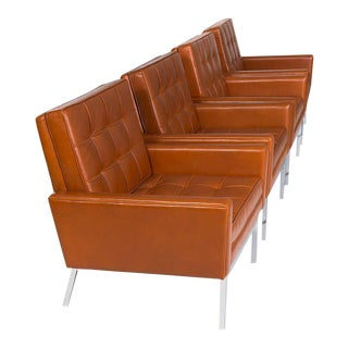 1960s Florence Knoll Leather Armchairs - Set of 4 For Sale