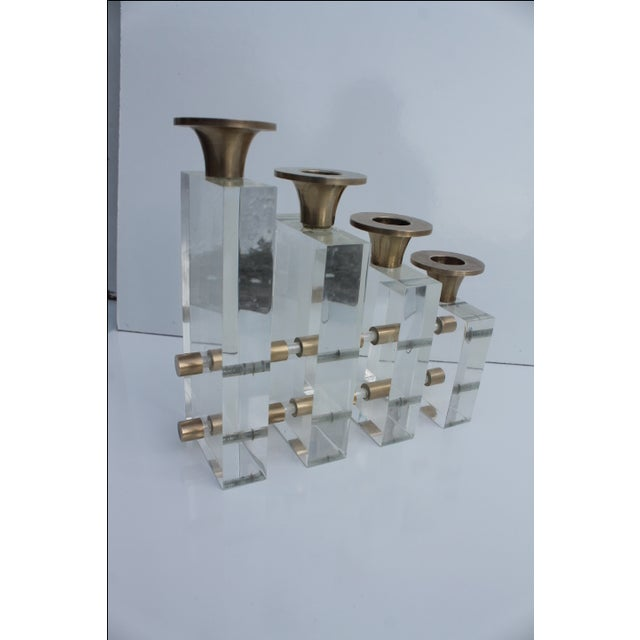Karl Springer Style Lucite and Brass Candleholder For Sale In Miami - Image 6 of 9