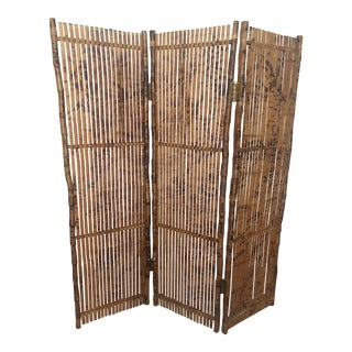 Vintage Bamboo Screen and Room Divider For Sale