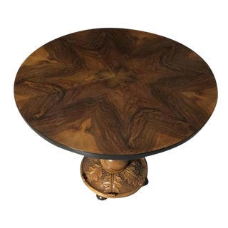 French Art Deco Walnut Accent Table For Sale