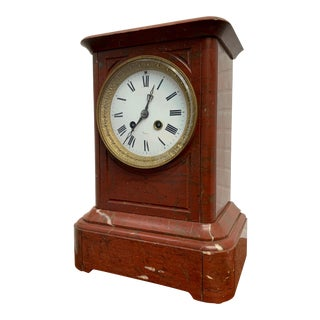 19th Century French Ox-Blood Marble Table Clock For Sale