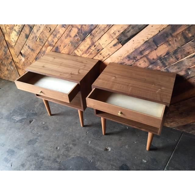Custom Mid Century Style Walnut Nightstands - a Pair For Sale - Image 5 of 5