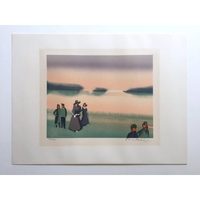 "Vintage Mid-Century Thomas Kruger Limited Edition Signed Lithograph Print "" the Beach "" For Sale - Image 10 of 12"