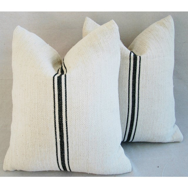 French Grain Sack Down & Feather Pillows - A Pair - Image 8 of 10