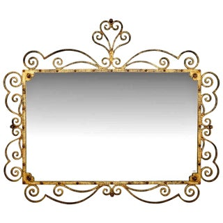 Large Italian Gilt Metal Horizontal Mirror