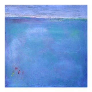 Paul Ashby Watery Blues Turquoise Abstract Landscape Oil on Board