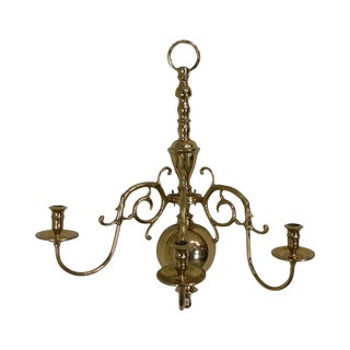 Virginia Metalcrafters Harvin Brass 3 Arm Wall Sconce For Sale