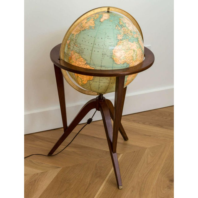 Rand McNally terrestrial globe with stand designed by Edward Wormley for Dunbar.
