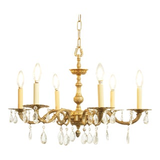 French Louis XV Style Vintage Brass 6 Arm Chandelier with Prisms For Sale