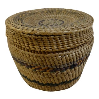 Vintage Small Tabletop Hand Woven Lidded Basket Box For Sale