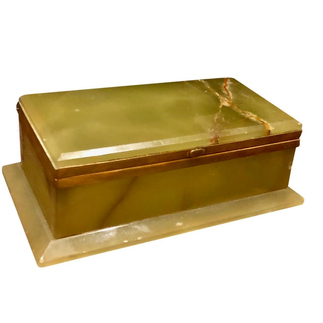1940s Large Onyx and Bronze Table Box For Sale - Image 9 of 12