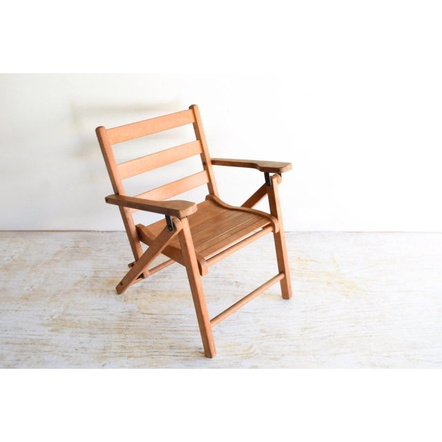 Mid-Century Modern Vintage Child's Folding Wooden Deck or Lawn Chair For Sale - Image 3 of 6