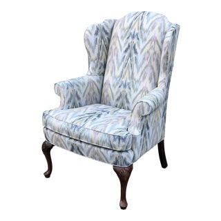 Upholstered Pastel Flame Stitch Wing Chair For Sale