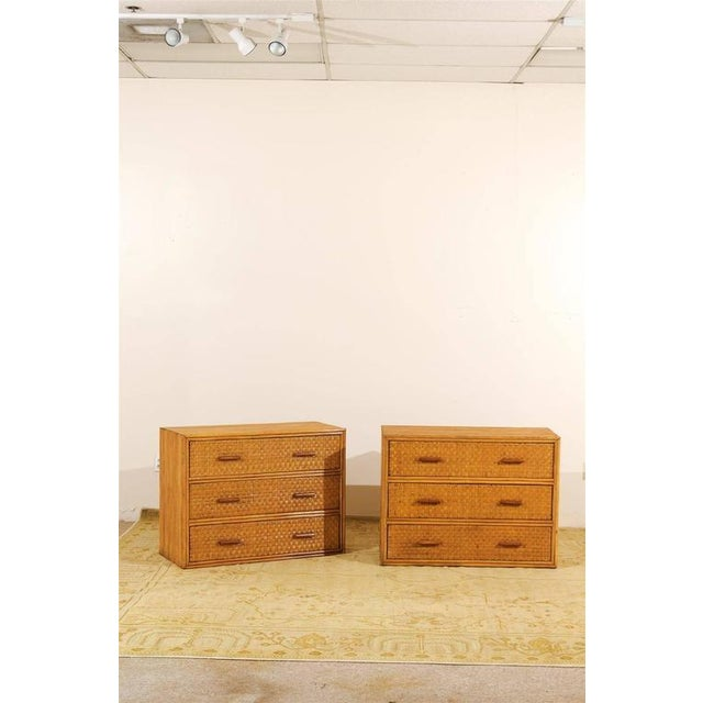 A lovely pair of vintage chests, circa 1950. Expertly crafted mahogany case construction, veneered in individual pieces of...