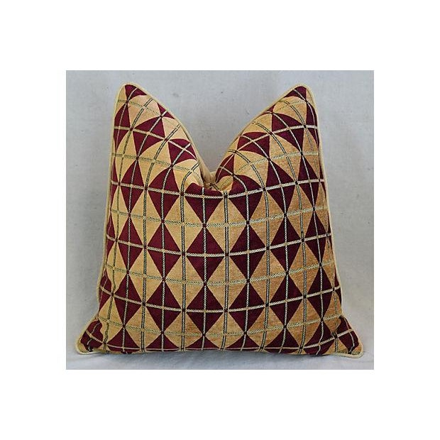 """Diamond Chenille & Velvet Feather/Down Pillows 24"""" Square - Pair For Sale - Image 4 of 14"""