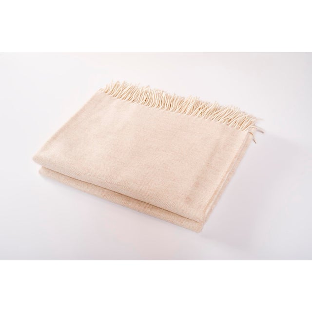 Contemporary Merino Wool Collection Oatmeal Throw For Sale - Image 4 of 4