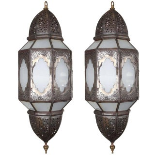 Mid Century Handcrafted Moroccan Moorish Milky Glass Pendant- A Pair For Sale