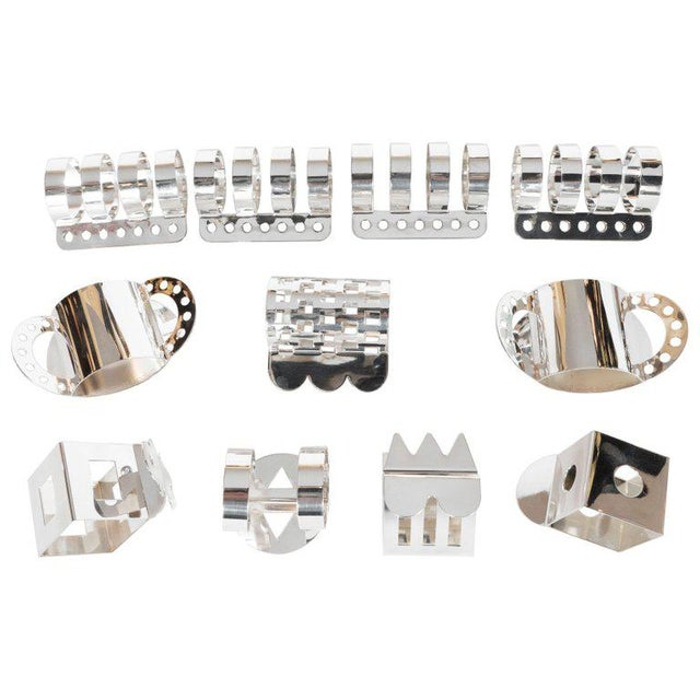 Modernist Memphis Silverplate Napkin Rings by Nathalie Du Pasquier for Bodum - 11 Pc. For Sale - Image 11 of 11