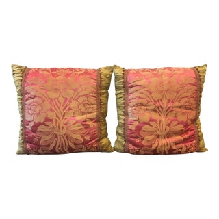 Vintage Fuschia & Gold Silk Pillows - a Pair For Sale