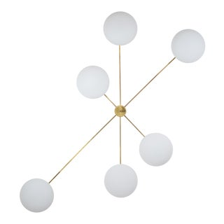 Stella Tribute - Angelo Lelli Style Brass and Opaline Ceiling Lamp For Sale