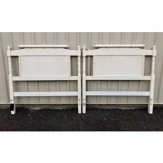 Vintage Mid-Century Faux Bamboo Pagoda Silhouette Twin Headboards - a Pair Preview