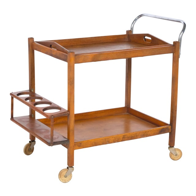 Mid-Century Wooden Bar Cart For Sale
