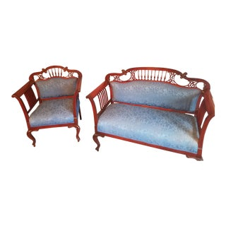 Late 19th Century Victorian Settee Set- 2 Pieces For Sale