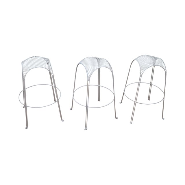 Mid Century Modern Metal Bar Stools - Set of 3 For Sale