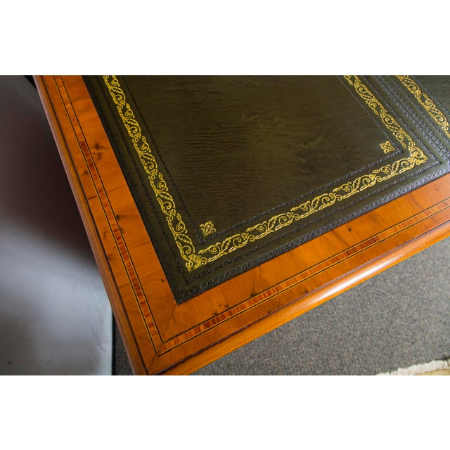 English English Traditional Yewood Kneehole Executive Desk For Sale - Image 3 of 12
