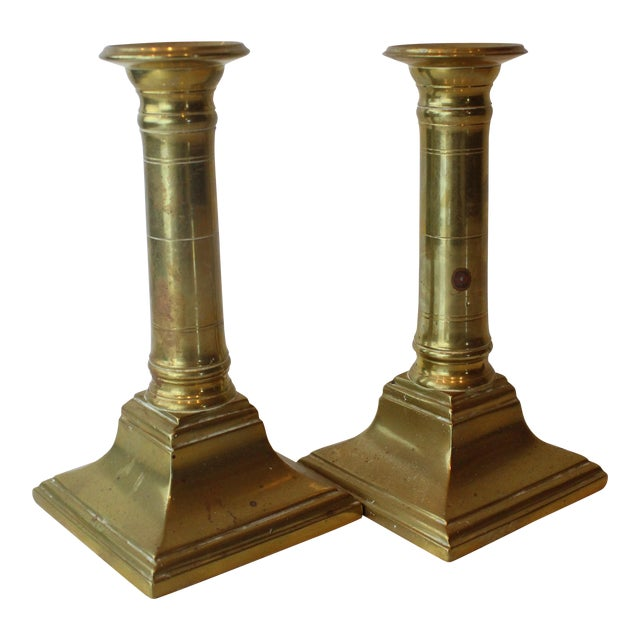 Mid 20th Century Modern Brass Candleholders - a Pair For Sale