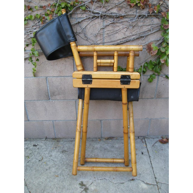 Metal 1960s Vintage Bamboo & Leather Folding Director's Chair For Sale - Image 7 of 11