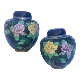 Zi Jin Cheng Hand Painted Ginger Jars - A Pair For Sale