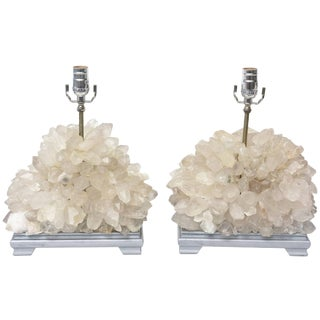 Vintage Carole Stupell Quartz Rock Crystal Table Lamps - a Pair