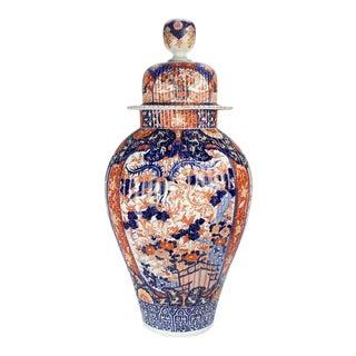 Very Large Antique Japanese Imari Porcelain Floor Vase Cover or Urn For Sale