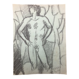 Modern Standing Male Nude by James Bone 1983 For Sale