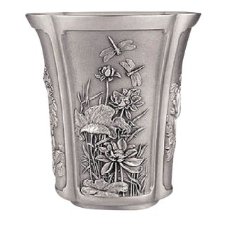 Champagne Ice Bucket Asian Chinese Japanese Pewter 4 Seasons Flowers Plum Cherry For Sale