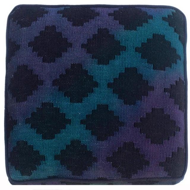 2010s Arshs Donovan Blue/Purple Kilim Upholstered Handmade Ottoman For Sale - Image 5 of 8