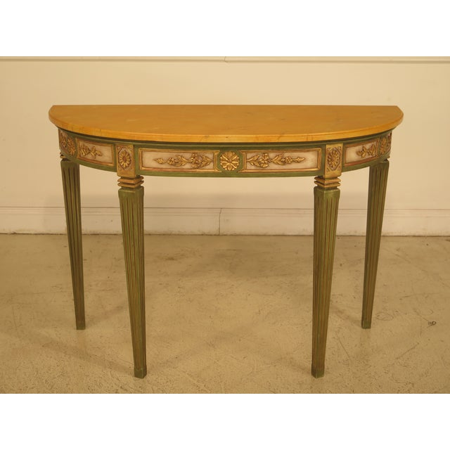French Louis XVI Style Paint Decorated Console Table For Sale - Image 11 of 11