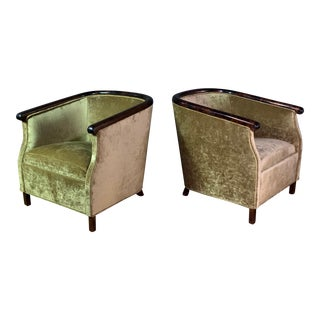 Pair 1930s Swedish Art Deco Club Chairs, Gold Velvet For Sale